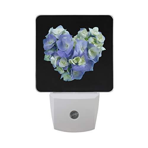 Love Hydrangea LED Night Light Lamp with Dusk to Dawn Sensor for Bedroom Bathroom Hallway Stairways ()