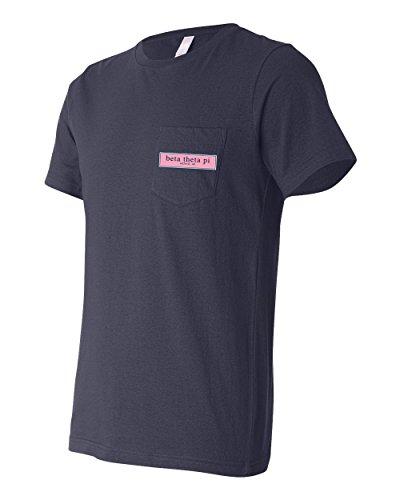 Print Bar AZ Beta Theta Pi Fraternity Pocket Shirt Founded in Oxford Oh (Navy, Large) -