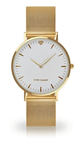 Yves Camani Pure Women's Wrist Watch Quartz Analog Gold Plated Stainless Steel White Dial