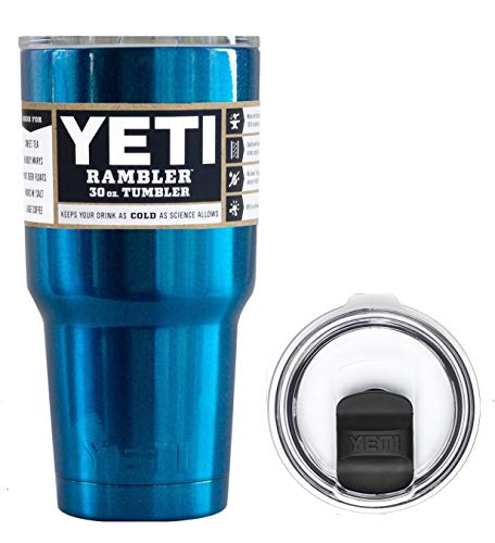 YETI Coolers 30 Ounce (30oz) (30 oz) Custom Rambler Tumbler Cup Mug Bundle with New Magslider Lid (Glitter Blue Sparkle)