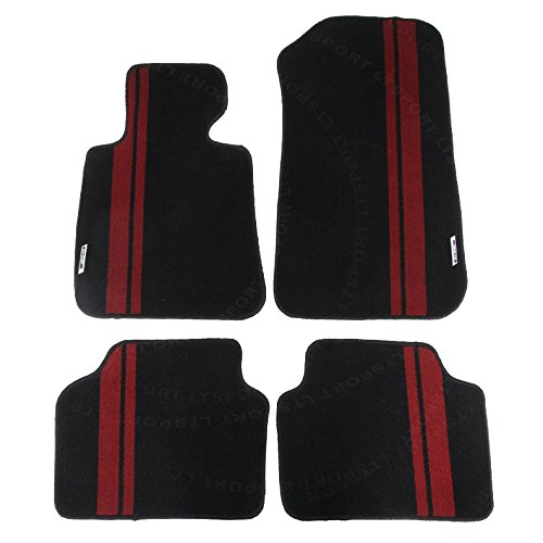 LT Sport Custom Fit 06-11 BMW 3 series E90 Stylish Nylon Floor Mats Carpet - Red Sport Series Slip