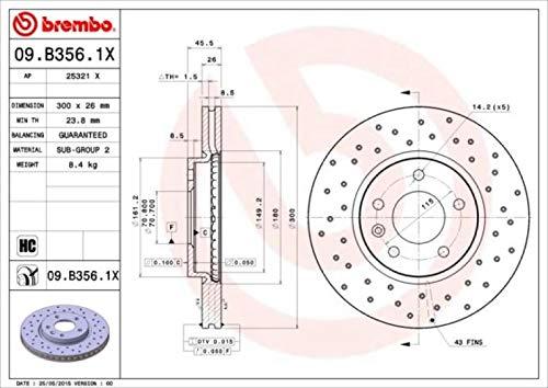 Brembo 09.B356.1X Rotores de Discos de Frenos