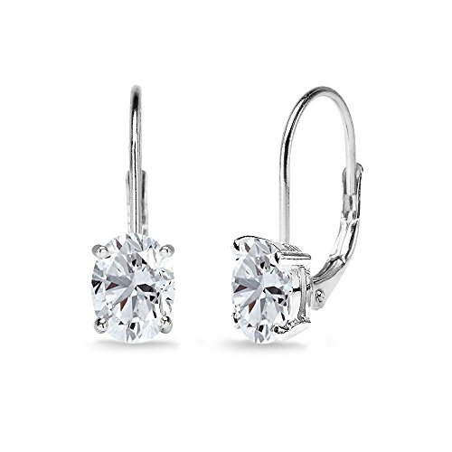 (Sterling Silver Created White Sapphire 7x5mm Oval Solitaire Dainty Leverback Earrings)