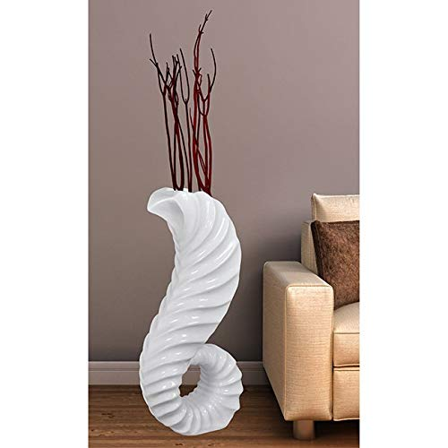 "Uniquewise Large White Horn Floor Vase 32"" High"