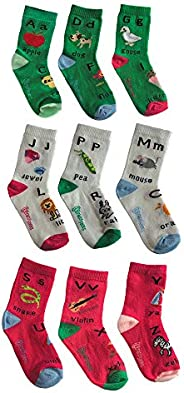 English Alphabet Set of Unique Mix /& Match Socks for Kids 2-4 Years Brainy Socks 9 Singles