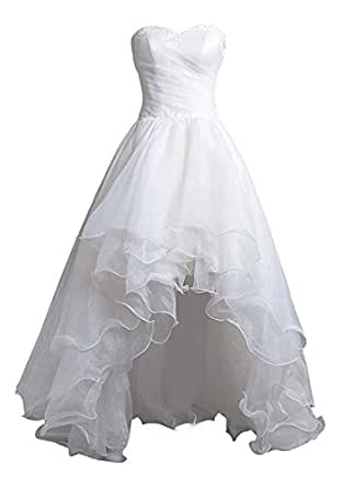 Organza Beach Wedding Dress White High Low Reception Gowns Multi-layer Skirt