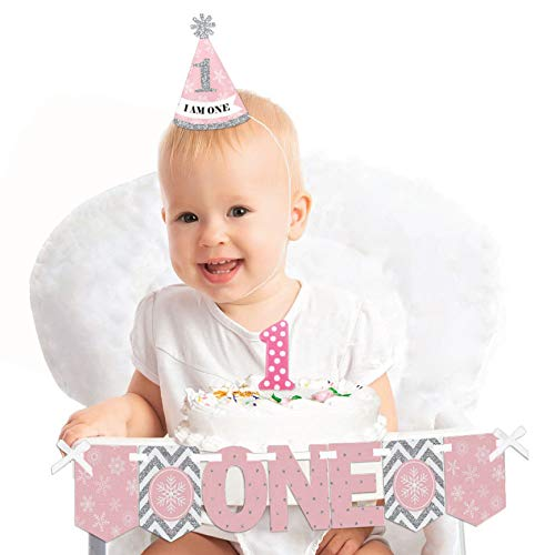 Pink ONEderland 1st Birthday - First Birthday Girl Smash Cake Decorating Kit - Winter Wonderland High Chair Decorations -