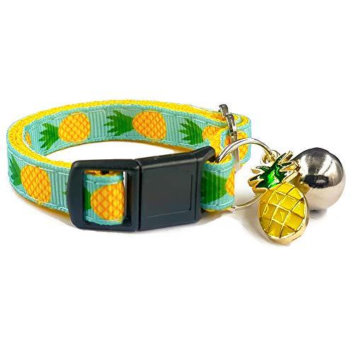 waaag Pet Collars Tropical Pineapple Cat Collar, Safety Breakaway Cat Collar, Large(Standard) Size (9