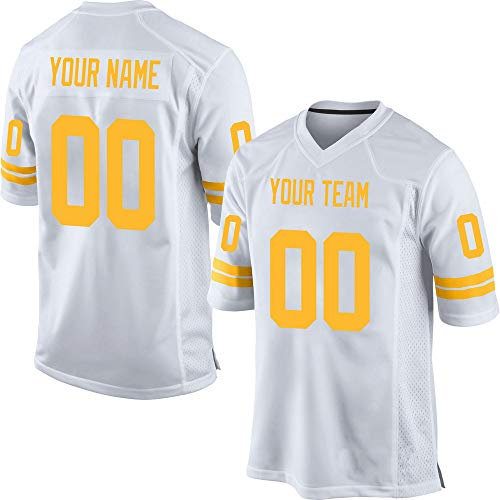(Custom Men's White Mesh Football Game Jersey Stitched Team Name and Your Numbers,Yellow Size)