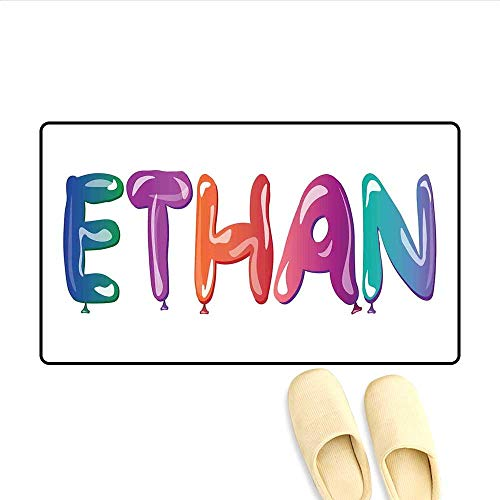 Door-mat Colorful Letters in The Shape of Balloons Happy Birthday Celebration Themed Font Bath Mats for Floors Multicolor 16