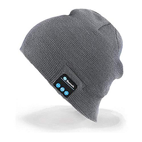 (Egurs Bluetooth Beanie Hat,Men Women Wireless Bluetooth Music Hat Winter Knitted Cap for Outdoor Sports Skiing,Running, Skating, Walking Gray)