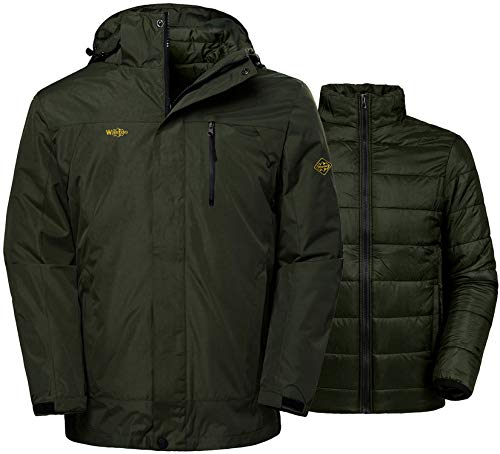 Wantdo Men's 3-in-1 Jacket Snowboard Coat Wind Resistant Raincoat Army Green XL