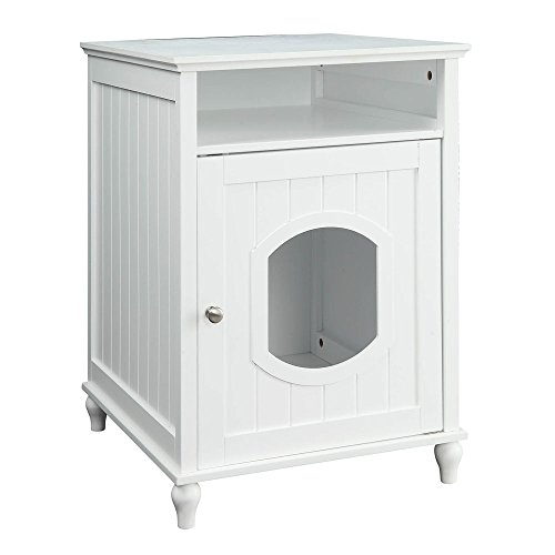 UniPaws Designer Cat House, Cat Washroom, Indoor Pet House Nightstand, Litter Box Enclosure Side Table, Wooden Cat Bathroom Crate-White