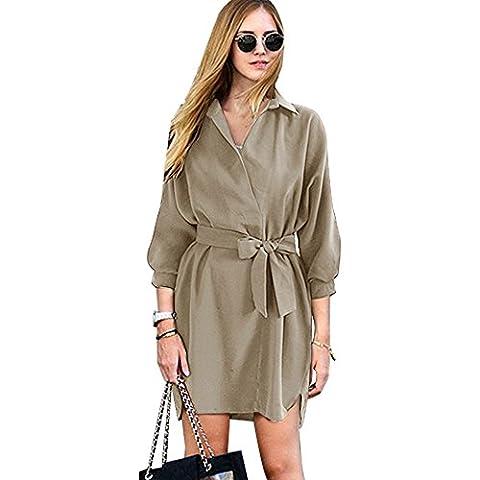 Womens Casual V Neck High-Low hem 3/4 Batwing Sleeve Button Down Boyfriend Elegant Shirt Dress with Belt - VENAS (L, - Button Down Plaid Dress Shirt