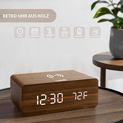 LOBKIN Digitaler Wecker mit Kabelloser Ladestation, LED Hölzerner Digitaluhr mit Temperaturanzeige Schlummerfunktion 3 Alarm Timer Kabelloses Laden, 12/24 Stunden (Braun)