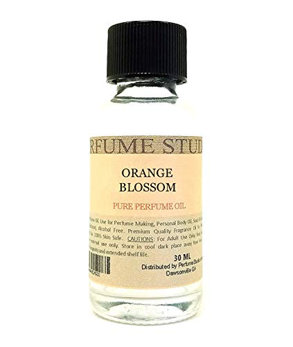 Pure Perfume Oil for Perfume Making, Personal Body Oil, Soap, Candle Making & Incense; Splash-On Clear Glass Bottle. Premium Quality Undiluted & Alcohol Free (1oz, Orange Blossom)