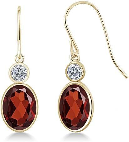 2.60 Ct Oval Red Garnet G/H Diamond 14K Yellow Gold Earrings