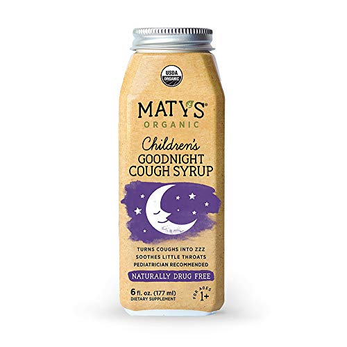 Matys Organic Children's Goodnight Cough Syrup, 6 Fluid Ounce, Organic Cough Remedy, Soothes Throats with Organic Honey, Chamomile & Nutmeg, Immune Boosting, Helps Ease Common Cold -