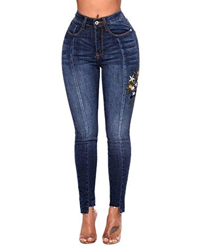 Femme Skinny Denim Boyfriend Jeans Brod Taille haute lasticit Pantalon Slim Stretch Taille Haute Pants Jeggings Bleu fonc