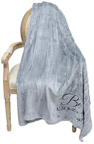 Limited Edition Stripe Sculpted Velvet Plush   Scripture Throw Blanket   Luxuriously Soft 60x70 inches (GRAY/Ps46:10)