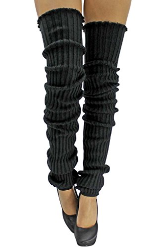 Black Slouchy Thigh High Knit Dance Leg Warmers (Women Long Legs With)