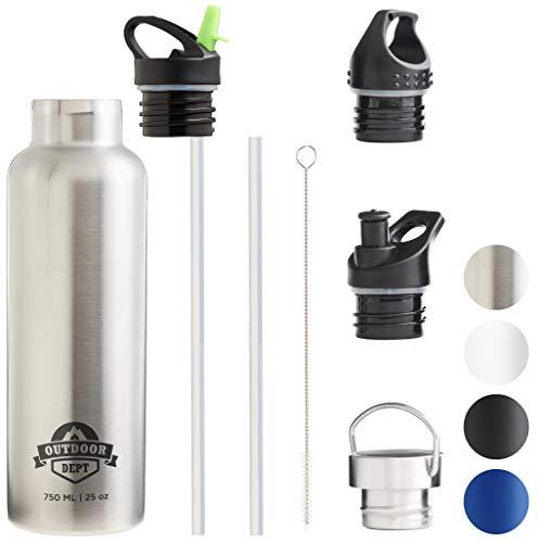 OUTDOOR DEPT Isolierte Edelstahl Trinkflasche 750 ML 4 Deckel BPA frei für Kohlensäure. Die Trinkflasche isoliert warme…