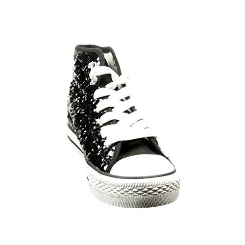 Angkorly - Scarpe da Moda Sneaker donna paillette lucide Tacco tacco piatto 2.5 CM - Nero