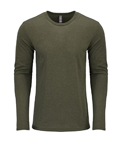 Next Level Men's Performance Blended Long Sleeve Jersey, Large, Military Green