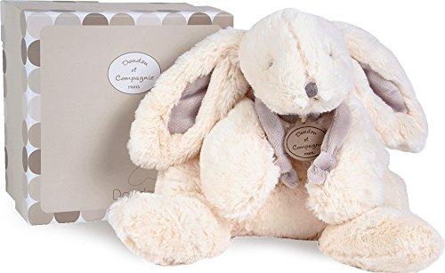 Doudou et Compagnie - Medium Soft White & Taupe Plush Bunny - White (Doudou Soft Toy)