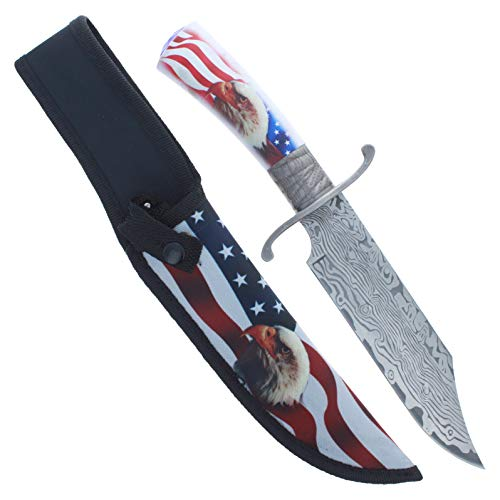 (ASR Outdoor Damascus Etched Hunting Knife 12.25 Inch Fixed Blade 440 Stainless Steel Wont Rust Nylon Sheath American Flag Bald Eagle Patriotic Design Clip Point Belt Loop Function Camping)