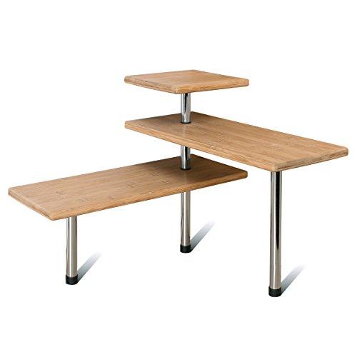 Étagère d'angle en bambou bremermann®, étagère de cuisine, matériau en bambou et acier inoxydable