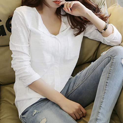 Blouse Femmes Chic Tunique Sweatshirts Coton Travail V Occasionnels Poche Col Swag Solide Femme Manches Haut Chemise Hauts Longues Top White Femme De T Shirt xr4xwq