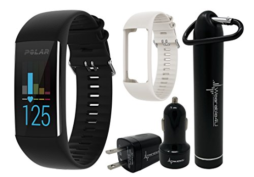 Polar A370 GPS Fitness Tracker with Heart Rate Monitoring and Extra Polar A370 Silicone Band and Wearable4U Ultimate Power Pack Bundle (M/L (140-200 mm Wrist), Black/White)