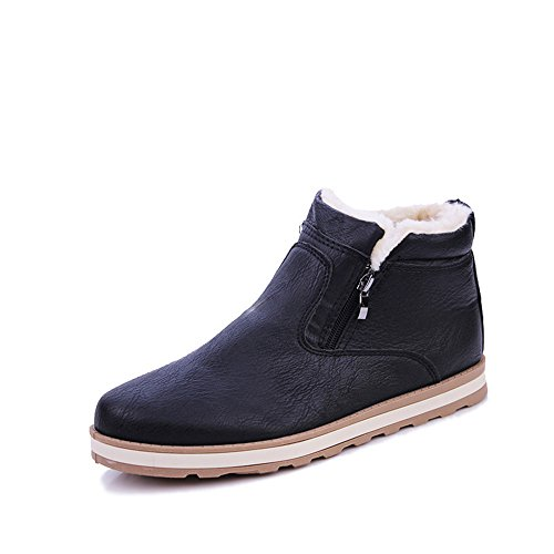 Men's Shoes Feifei PU Material High Help Winter Trendy Leisure Keep Warm 3 Colors (Color : Black, Size : EU/41/UK7.5-8/CN42)
