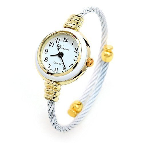 White Gold Cable Wire Band Women's Bangle Cuff Watch