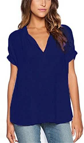 ZANZEA Women's Summer Casual Chiffon Blouse V-Neck Short Sleeve Tops Shirts