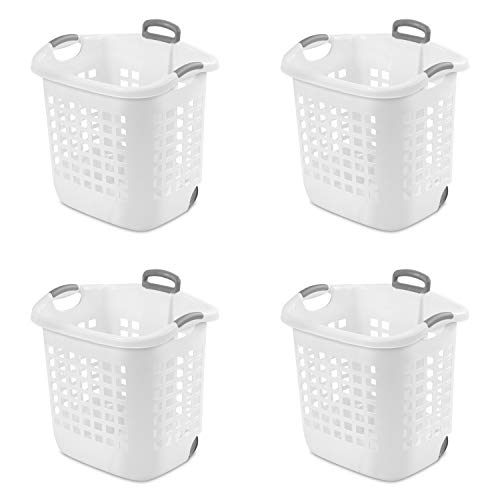 Sterilite 12248004 Laundry Basket, 62 L, White, Pack of 4 ()