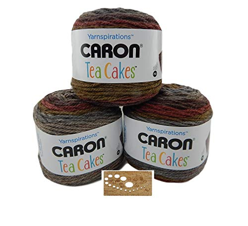 Caron Tea Cakes Acrylic-Wool Blend Yarn Super Bulky #6 8.5 oz 204 yds 3-Pack w Bamboo Knitting Gauge (Ginger Spice)