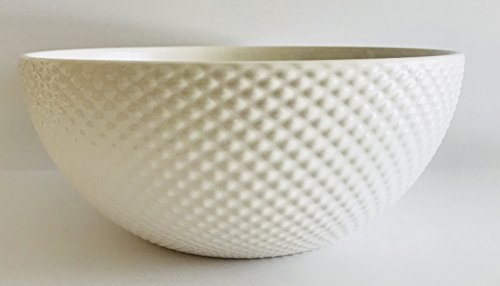 Made In Portugal   Beautiful White Texture On the Outside Ceramic Serving Bowl (7.5 inches x 3.75 (Veris Fusion)