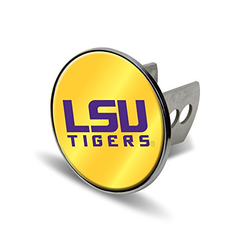 NCAA LSU Tigers Laser Cut Metal Hitch Cover, Large, Silver - Louisiana State Lsu Tigers Trailer