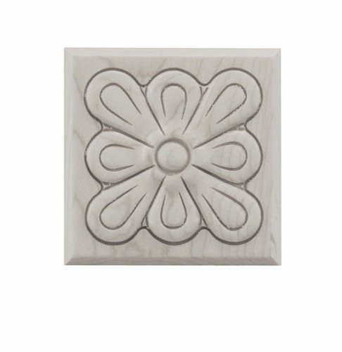 Fleur Carved Tile, Small, Hard Maple