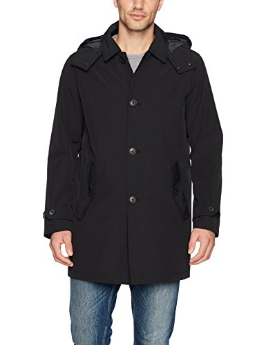 Tommy Hilfiger Men's Hooded Rain Trench Coat with Removable Quilted Liner, Black, Small ()