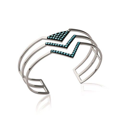 Bracelet Manchette en Argent 925/000 et Pierres Turquoise - Triangles - Navajo
