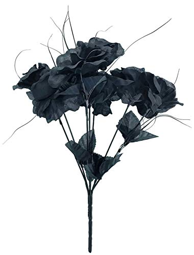 Halloween Bouquet - MM TJ Products Artificial Black Roses Bouquet (1)