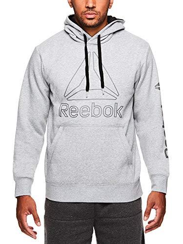 Performance Hoodie Sweatshirt - Reebok Men's Performance Pullover Hoodie - Graphic Hooded Activewear Sweatshirt - Grey Box Jump, Small