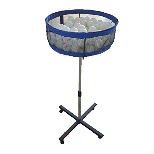 MICHEALWU Pingpong Ball Collector Equipment Professional Movable Multi-ball Storage Stand with Mesh Case Height Adjustable for Training Stable Carry Mesh Basin for Golf ball,Tennis ball,Badminton etc by MICHEALWU