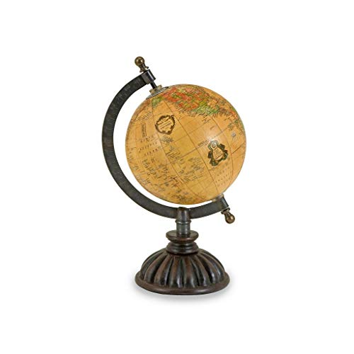 IMAX 5490 Colony Globe, Decorative Globe. Antique Map In Parchment-Yellow, Stately Iron Stand, Detailed Semi-Meridian…