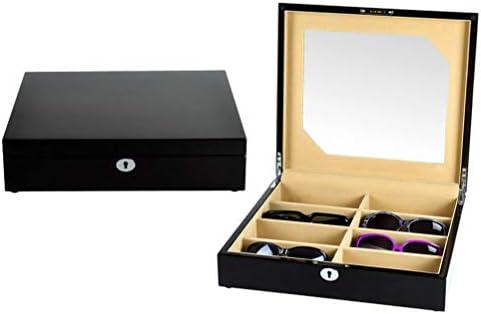 デラックス8コンパートメントアイウェアサングラスディスプレイケースピアノ塗装プロセス、メガネジュエリー用コレクターボックスジュエリー,Black