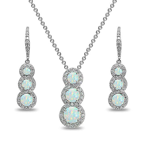 - Sterling Silver Simulated White Opal Journey Halo 3-Stone Pendant Necklace & Leverback Earrings Set for Women