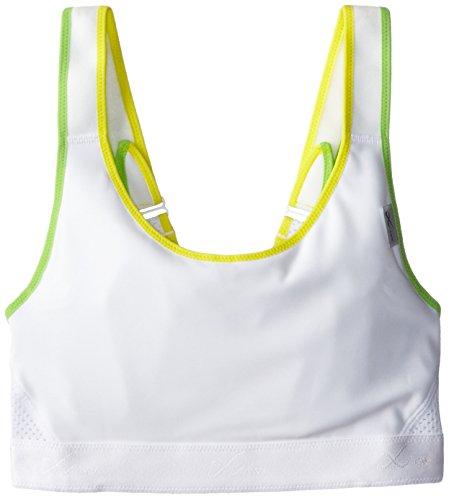 (CW-X Conditioning Wear Women's Versatx Running Bra, White/Yellow/Green, 32BC)